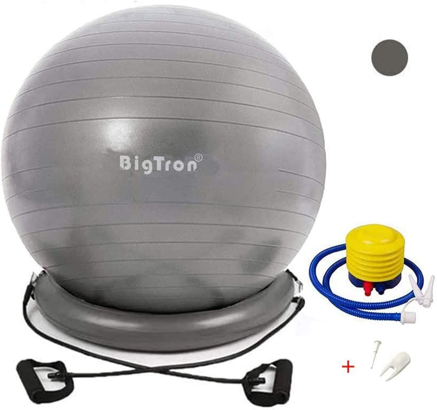 BigTron Yoga Ball Chair (65cm) - Stability Exercise Ball with Base and Resistance Bands (Anti-Burst up to 2000lb) - Improves Core Strength, Balance, Back Pain. Ideal for Office Chair, Yoga & Fitness