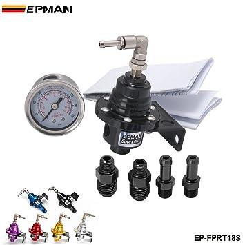 EPMAN Sport Type S Adjustable Fuel pressure Regulator FPR Universal JDM Turbo + Liquid Gauge 0