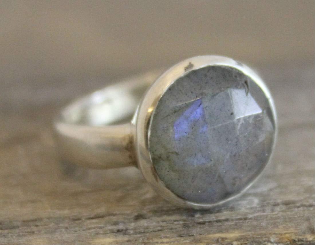 Labradorite Sterling Silver Ring Size L 1//2 US Size 6