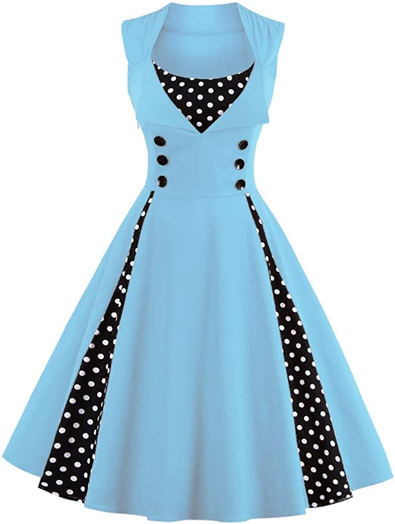 TALLA M. VERNASSA 50s Vestidos Vintage,Mujeres 1950s Vintage A-Line Rockabilly Clásico Verano Dress for Evening Party Cocktail, Multicolor, S-Plus Size 4XL 1357-blue