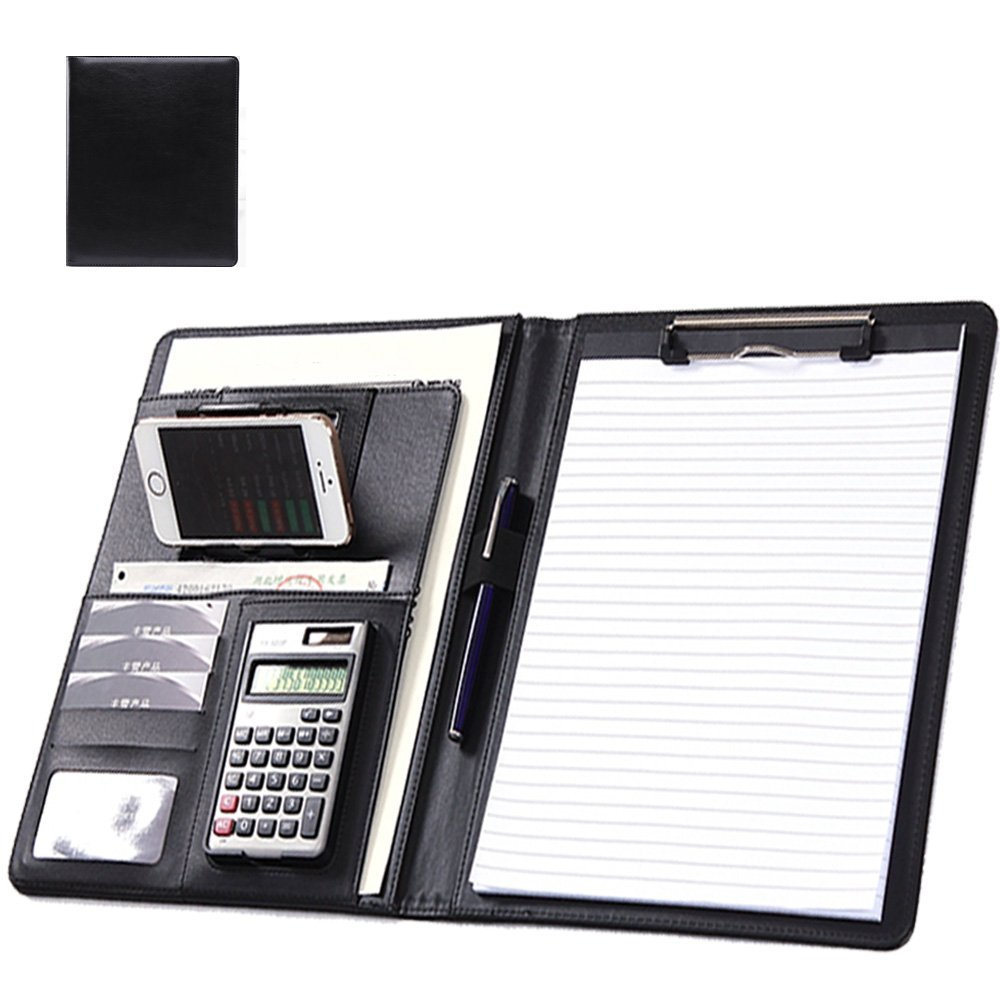 Business/Padfolio/Resume Portfolio Folder, Interview Document Organizer with Card Holder/Phone Stand/ID Window/Calculator Holder/A4 Binder (Black)