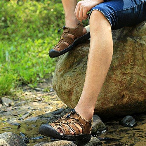 48 38 Scarpe Acqua Sandali Sportivi Estivi Escursionismo Pescatore Piscina Marrone Verde Spiaggia All'aperto da Uomo Marrone Trekking Mare Pelle wTwFPxqXa