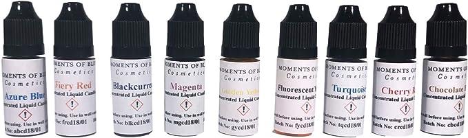 Juego de 9 tintes de cera líquida de 10 ml, cera de soja ecológica y de soja de parafina, color pigmento de gel, 10 ml, concentrado, suministros para ...