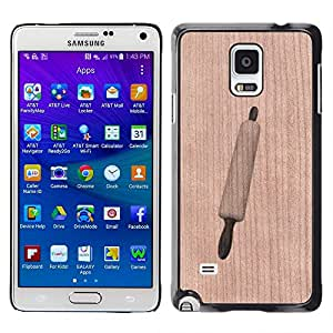 // MECELL CITY PRESENT // Cool Funda Cubierta Madera de cereza Duro PC Teléfono Estuche / Hard Case for Samsung Galaxy Note 4 /// Cooking Rolling Pin Baking Chef Cook ///