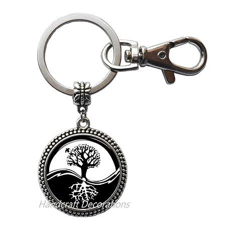 Amazon.com: Llavero con diseño del árbol de la vida de Yin ...