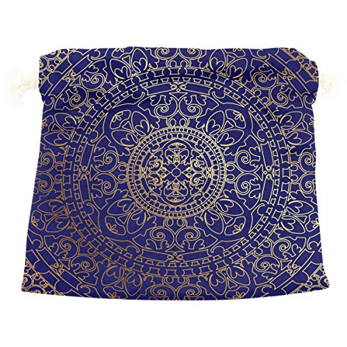 Dragon Sword Oriental Blue And Gold Hippie Mandala Gift Bags Jewelry Drawstring Pouches for Wedding Party, 5.5x5.5(in)