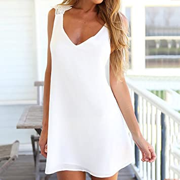 Goodid vestido blanco sin mangas de tirantes con encajes de flores bikini traje de playa-