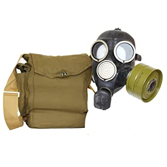 Russian USSR Military Black Rubber Gas Mask Gp-7 With All Equipment: Bag,