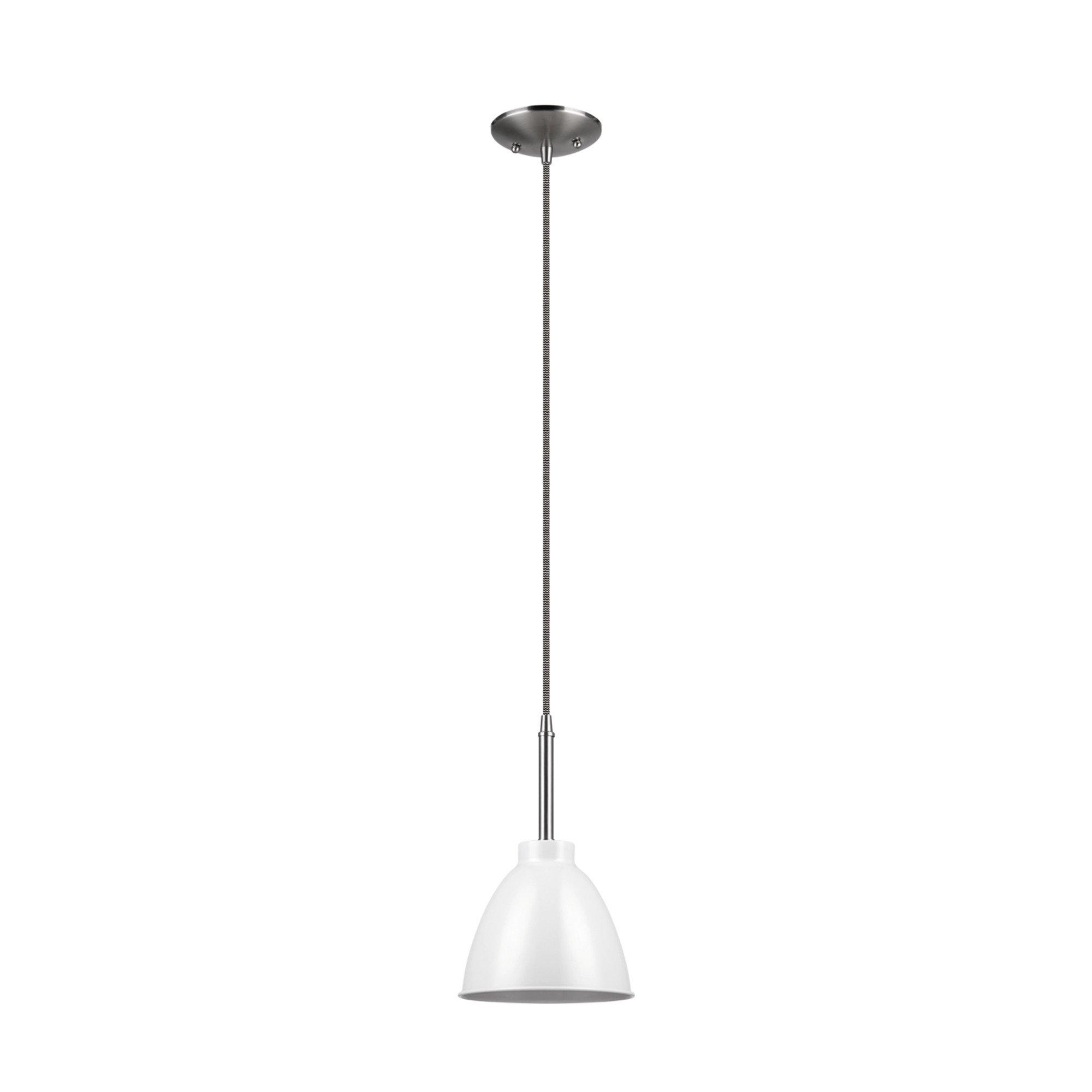 Globe Electric Rickon 1-Light Pendant, White Finish, Brushed Steel Accent, Designer Chevron Fabric Cord, 65621