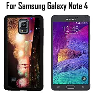 Beautiful Fireworks Custom Case/ Cover/Skin *NEW* Case for Samsung Galaxy Note 4 - Black - Rubber Case (Ships from CA) Custom Protective Case , Design Case-ATT Verizon T-mobile Sprint ,Friendly Packaging - Slim Case