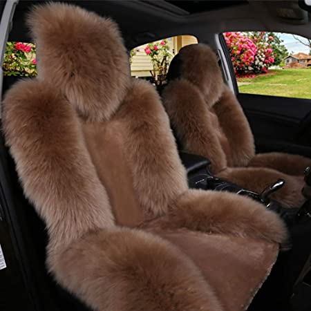 Compatible/With Mitsubishi/outlander/PHEV,Lancer ZMCOV Car Seat Covers Fuzzy Front Seats Only Warm Soft Fluffy Breathable Sheepskin Long Wool