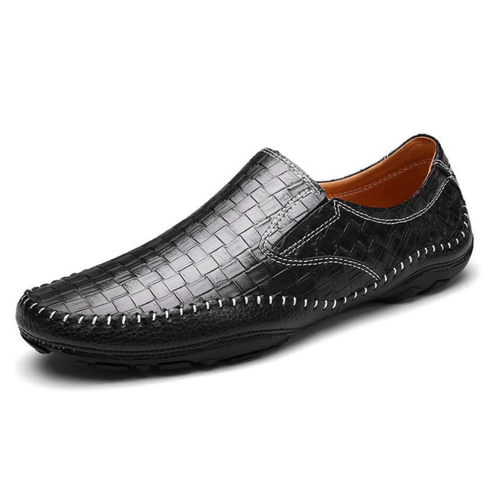 YAN 2018 Herrenschuhe Smart Casual Schuhes Loafers Slip Auf Schuhen Herren Leder Fahr Schuhe Moccasins Schwarz-Blau-Braun, B,42