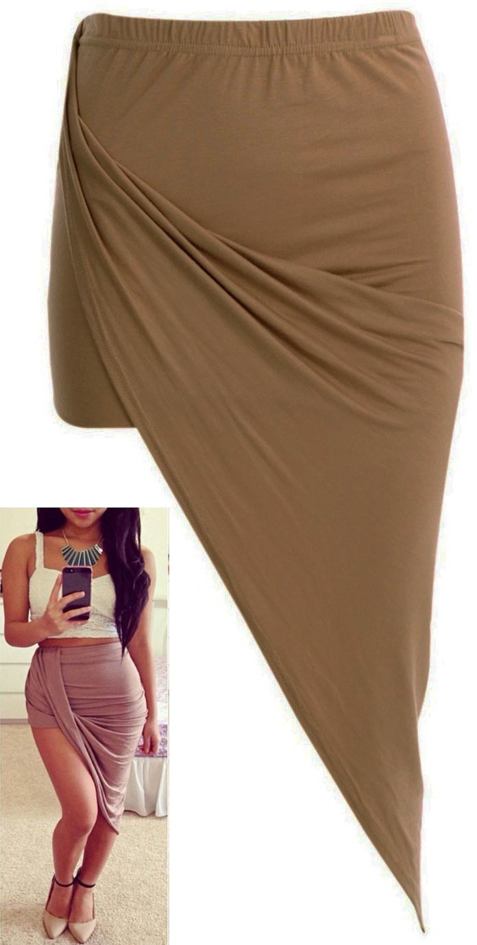 Crazy Girls Womens Drape Up Asymmetrical Kylie Jenner Style Cutout Ruched Skirt