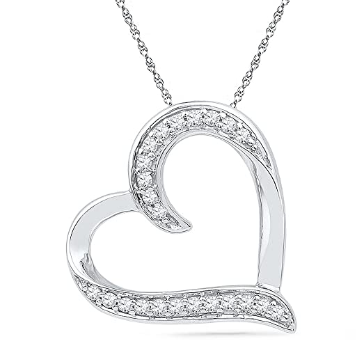 Amazon sterling silver white round diamond heart pendant 16 sterling silver white round diamond heart pendant 16 cttw mozeypictures Images