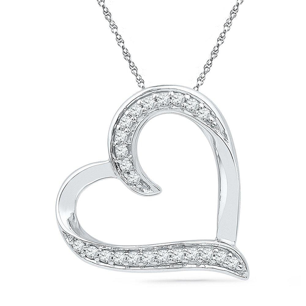 Sterling Silver White Round Diamond Heart Pendant (1/6 Cttw)