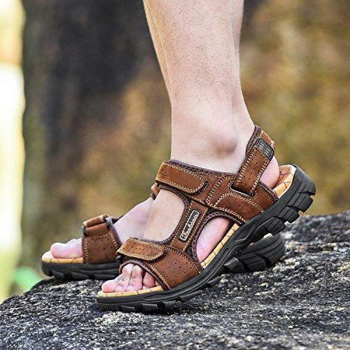 FYios Men's leather sandals sandals Summer Youth,Forty,Dark brown (Youth Dark Footwear Brown)