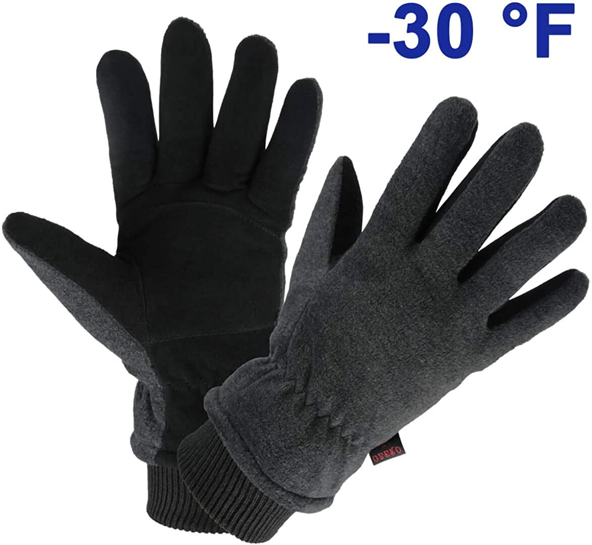 OZERO Winter Gloves Water Resistant Thermal Glove with Deerskin Suede Leather and Insulated Polar Fleece for Driving/Cycling/Running/Hiking/Snow Ski in Cold Weather - Warm Gifts for Men and Women : Clothing