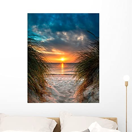 Amazon.com: Wallmonkeys FOT-86628044-36 WM361795 Personal Paradise on a Beautiful White Sand Beach at Sunset Peel and Stick Wall Decals (36 in H x 29 in W), Large: Home & Kitchen