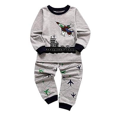 14e3bccbc53bc Transer Toddler Enfants Bébé Garçons Filles À Manches Longues Pyjamas de  Bande Dessinée Impression Survêtement Tops