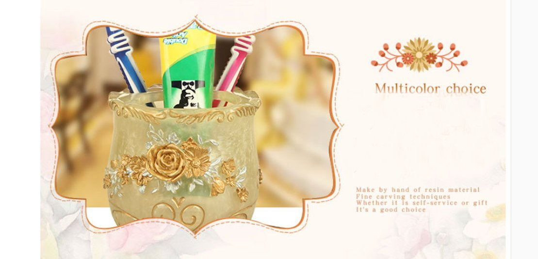 Yiyida Badezimmer Set aus Harz Seifenschale 5-teilig Blume Set Seifenspender Zahnb/ürstenhalter Zahnbecher,Gold und Wei/ß