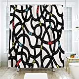 Shower Curtains with Fish on Them scocici DIY Bathroom Curtain Personality Privacy Convenience,Cars,Intertwining Roads with Cars on Them Complicated Design with Urban Life Theme,Black Yellow Blue,70.8