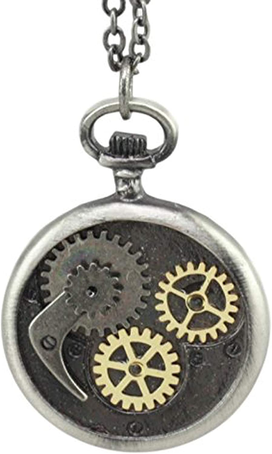 Ebros Steampunk Scythe and Gears Clockwork Design Round Pewter Necklace Alloy Pendant Jewelry