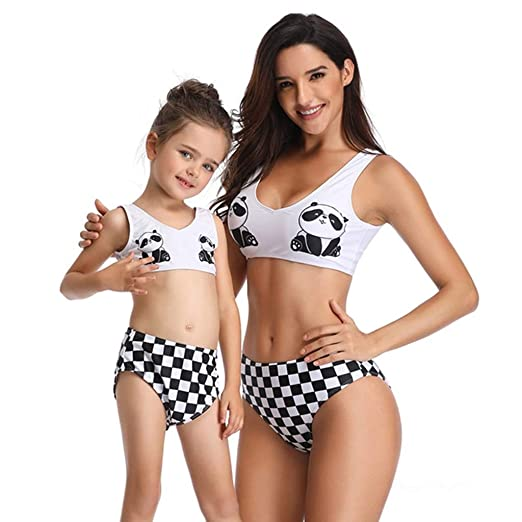 Traje de baño para Padres e Hijos Patrón de Panda Madre e ...