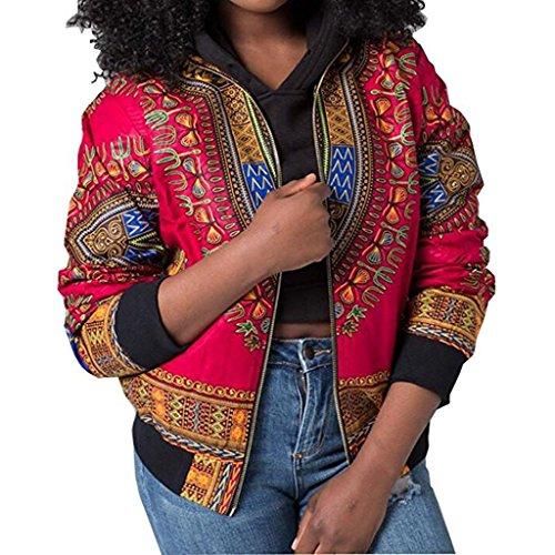 Doris Women's Dashiki Bomber Jacket African Style Zipper Jacket