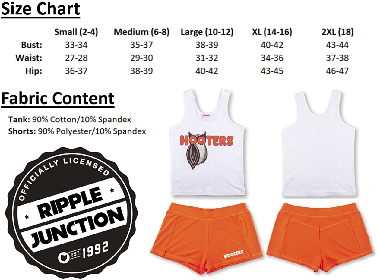 Ripple Junction Hooters Juniors Hooters Girl Outfit Top and Shorts Light Weight Costume