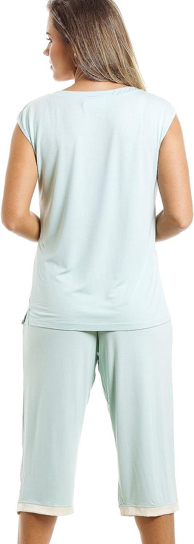 Conjunto de Pijama con Camiseta sin Mangas y pantal/ón Pirata Verde Menta