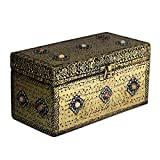 NOVICA Repousse Brass Jewelry Box, Metallic 'Mughal Treasure Chest'