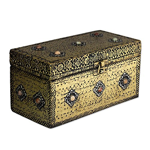 NOVICA Repousse Brass Jewelry Box, Metallic 'Mughal Treasure Chest' by NOVICA