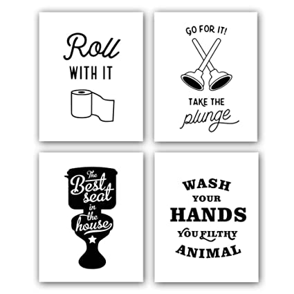 d870f048252 Chsdec Funny Words Quote Signs Art Prints for Bathroom Toilet(8x10 Inches  Set of 4-Unframed) Lettering Art Poster,Modern Washroom Picture Black ...