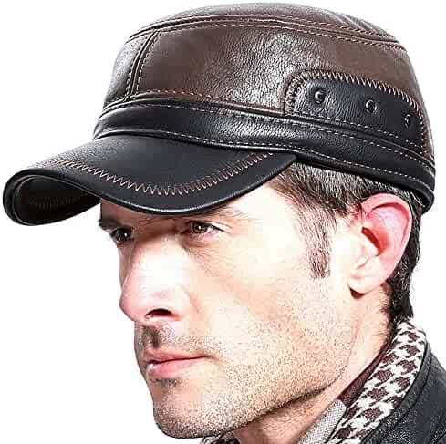84386dd0 Caissip Men Winter Leather Cap Earflap Fur Baseball Army Flat Top Hat  Outdoor