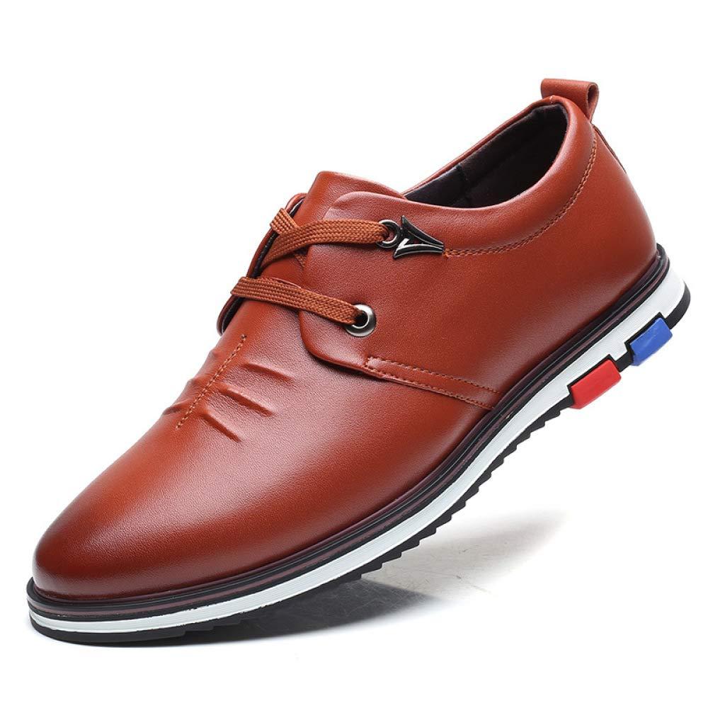 LYZGF Hombres Adultos Zapatos De Cuero Ocio con Cordones Planos Cómodo Negro Marrón Azul 43 EU|Brown Brown