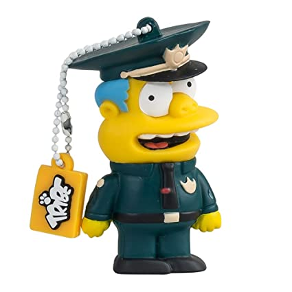 Tribe Los Simpsons Chief Wiggum - Memoria USB 2.0 de 8 GB Pendrive Flash Drive de Goma con Llavero
