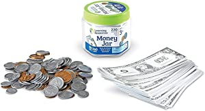 Learning Resources Money Jar, Play Money, Play Money for Kids, Counting, Bills and Coins, Homeschool, Math, Pretend Money, Ages 3+