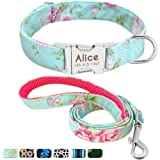 Beirui Nylon Personalized Dog Collar and Leash Set - Custom Dogs Collars with 4FT Dogs Leashes