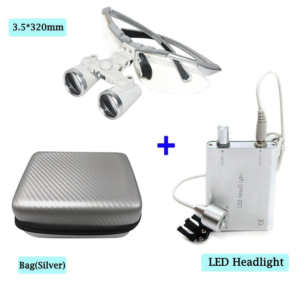 Zinnor Dental Surgical Medical Binocular Loupes Optical Glass Loupe 3.5 X 320mm + LED Head Light Lamp + Carry Bag (Silver)
