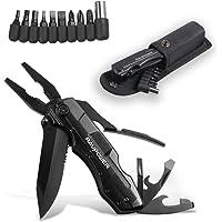 Pince Multifonction 5-en-1 Outil Multifonctions de Poche RAVPower avec Acier inoxydable noir, Couteau suisse militaire avec Poignée ergonomique (Sécurité intégrée & Pochette de ceinture)