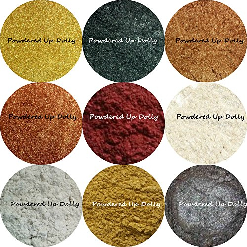 Lot of 9 Sample Micas One {1g} Gram Powder Each Sparkling Shimmer Glittering Micas Soap Making Cosmetic Pigments 24 Karat GOLD Black BRONZE Copper BURGUNDY Ivory WHITE Gold GRAY Colorants -