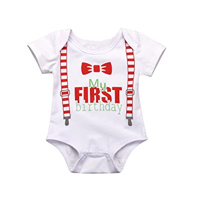 Aalizzwell Newborn Baby My First Birthday Red Bow Tie Print Short Sleeve Romper Bodysuit