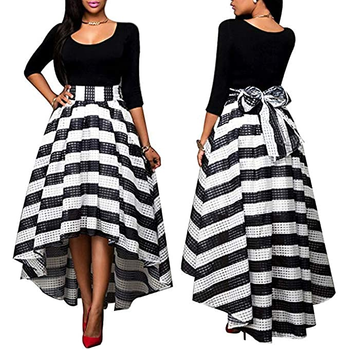 Motivated Women Casual Striped Pattern O-neck Full Sleeve Loose Maxi Dress Women's Clothing