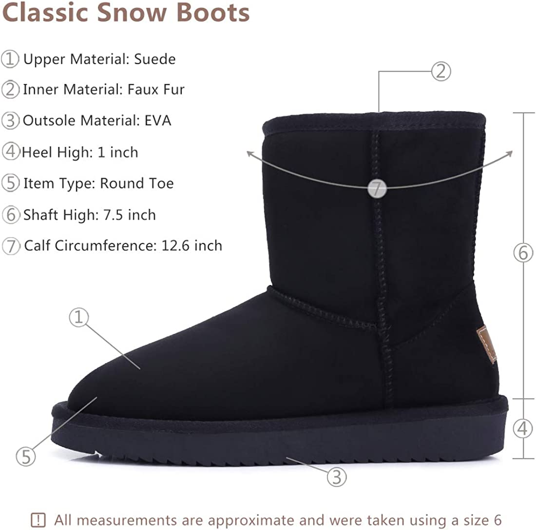 Womens Warm Winter Boots Ankle High Classic Vegan Suede Faux Sheepskin Shearling Snow Boots