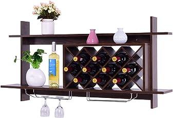 Giantex Wall Mounted Wine Rack Organizer W/ Metal Glass Holder u0026 Multifunctional Storage Shelf Modern  sc 1 st  Amazon.com & Shop Amazon.com Wall-Mounted Wine Racks