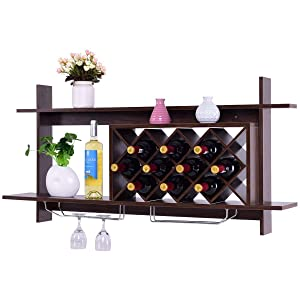 Giantex Wall Mounted Wine Rack Organizer W/Metal Glass Holder & Multifunctional Storage Shelf Modern Diamond-Shaped Wood Wine Server for 10 Bottles Wine Storage Display Rack (Black Walnut)