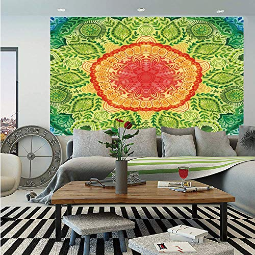 SoSung Ethnic Wall Mural,Mandala Tie Dye Design Flower Children Kids Children Inspired Image,Self-Adhesive Large Wallpaper for Home Decor 55x78 inches,Blue Red Yellow and Green