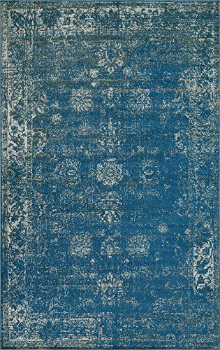 Asian Rug - Unique Loom 3134044 Sofia Collection Traditional Vintage Beige Area Rug, 5' x 8' Rectangle, Blue