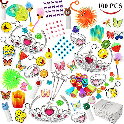Joyin Toy 100 Pc Party Favor Toy&Accessory Assortment for Girls, Kids Party Favor, Birthday Party, School Classroom Rewards, Carnival Prizes, Pinata Toy, Stocking Stuffers, Halloween Accessories (Party Favors Girls)