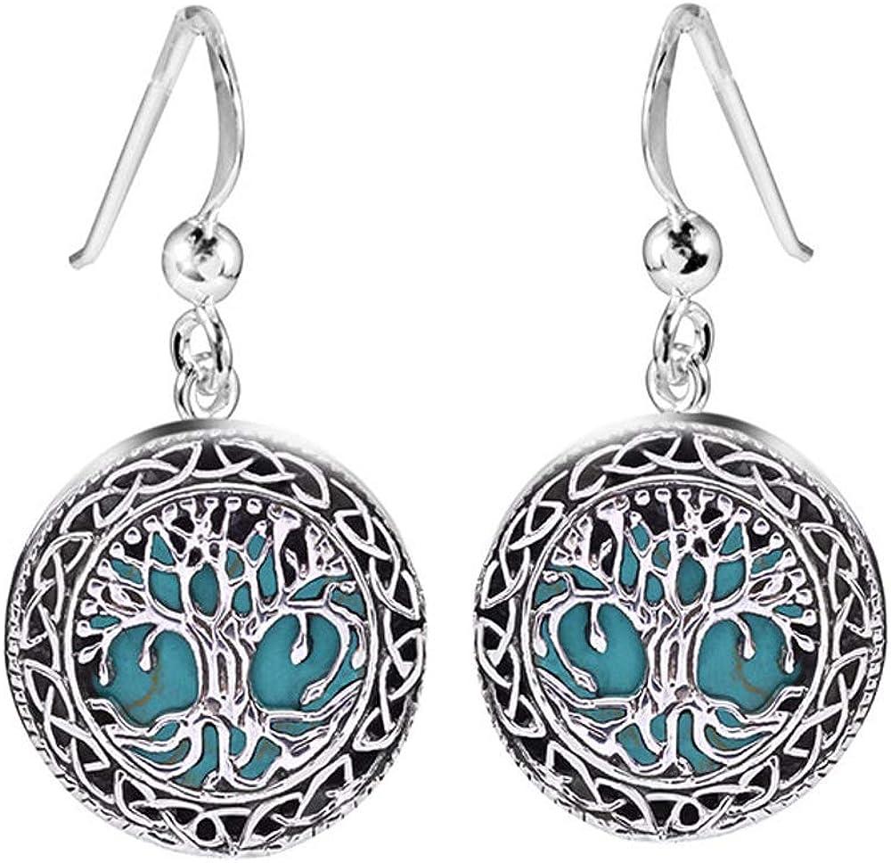 MATERIA Pendientes de plata 925 para mujer, diseño de árbol de la vida, piedra natural turquesa, largos, redondos, en caja de regalo, SO-299